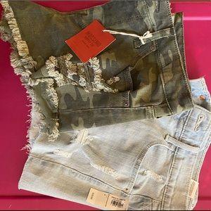 BUNDLE of 2: Size 4 NWOT shorts, jean demin camo